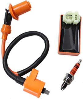 Poweka New Pack of Gy6 50cc 125cc 150cc Scooter Moped Racing Cdi Box 6 Pin + Ignition Coil + 3 Electrode Spark Plug