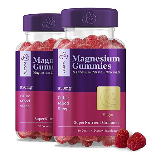 Magnesium Glycinate + Citrate Gummies Supplement for Adults Kids, Calm...