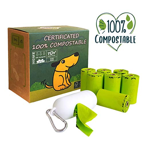 moonygreen Dog Poop Bag with Dispenser, 100% Compostable Vegetable-Based Doggie Bag for Waste, Compostable and Eco-Friendly, Unscented, Extra Thick and Leak Proof, 120 Counts, 8 Rolls, 9 x 13 Inches