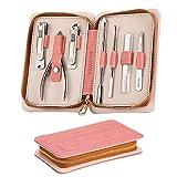 Tagliaunghie Set manicure 7 pezzi, kit professionale Nail Clippers in acciaio inossidabile Strumenti per la cura della pedicure per donne con custodia in pelle PU rosa per viaggi e uso domestico