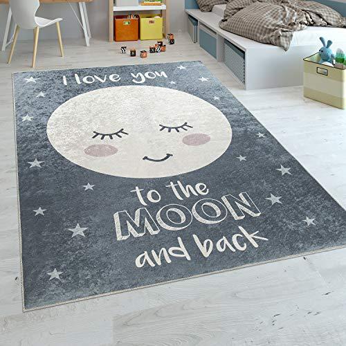Paco Home Kinderteppich Kinderzimmer Mädchen Waschbar Sterne Niedlicher Mond Spruch Grau, Grösse:120x160 cm