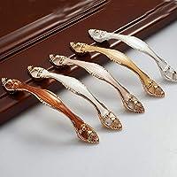 10個 セット ヨーロッパスタイル 琥珀 取っ手 取手 葉の形 DIY 食器棚 靴箱 キャビネット ハンドル ドアノブ 装飾 引き出しつまみ 手すり 家具 ベッドルーム