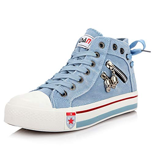 Sallypan Frauen-Schuhe, 2020 Denim Hoch Segeltuch-Turnschuhe für Frauen Vulcanize Schuhe Sommer Lace-Up-Seiten-Reißverschluss-Trainer-Walking-Schuhe,Light Blue,39