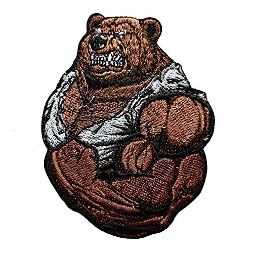 HCBLUE Parche bordado con diseño de oso muscular, para coser y planchar en el parche para mochilas, pantalones vaqueros y ropa