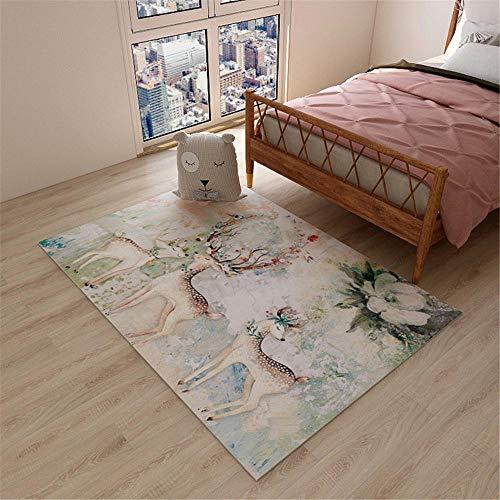 RUGMYW Lavable En La Lavadora Alfombra Outlet Patrón de Ciervo Verde Beige marrón Rojo Naranja alfombras Pelo Corto Salon 140X200cm