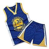 SALLARM Curry # 30 Jersey Golden State Warriors Uniforme de Baloncesto Traje Ropa de Deporte(Azul,S)