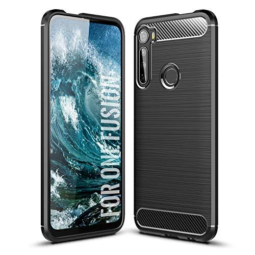 SCL Hülle Für Motorola One Fusion+ Hülle Moto One Fusion+, Handyhülle Exquisite Serie-Carbon Design Schutzhülle mit Anti-Kratzer & Anti-Stoß Absorbtion Technologie [Schwarz]