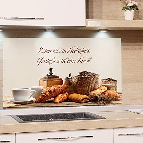 GrazDesign Spatbescherming keuken voor fornuis | Keuken achterwand glazen gootsteen | Afbeelding motief citaat eten is een behoefte | Keukenspiegel 80x50cm