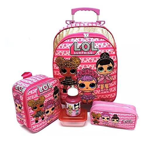 Kit Mochila Infantil Lol Rosa Escolar Brilhos Rodinhas G F5