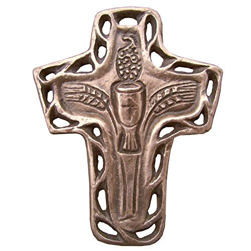 Unbekannt Bronzekreuz Bronze Kreuz Kelch Wein Ähren Kommunion 10 cm * 8 cm