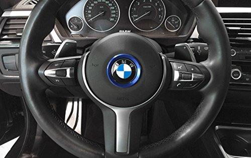 BizTech® 45mm Pegatina adhesiva de aluminio azul para el volante de la serie BMW 1 2 3 4 5 6 7 8 X1