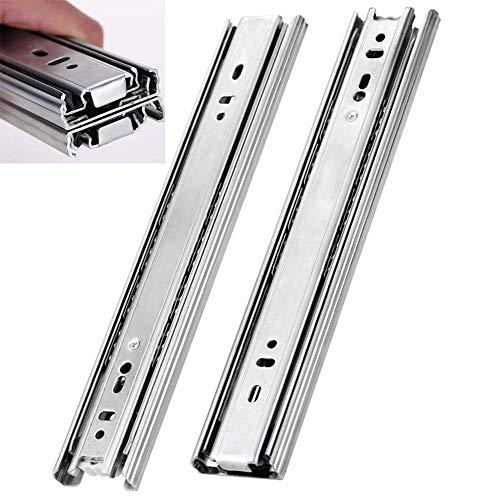 SADHD Hardware Soft Close Drawer Slides Push to Open Drawer Runner Drawer Slide,Full Extension Rail,Ball Bearing,Side Mounting,Three-Section Thickening,34In(850Mm)