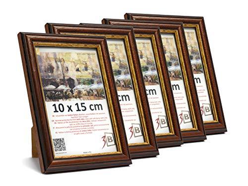 3-B Set de 5 pièces Cadres Bari Rustique - foncé Brun - 10x15 cm - Cadre en Bois, Cadre pour Photo