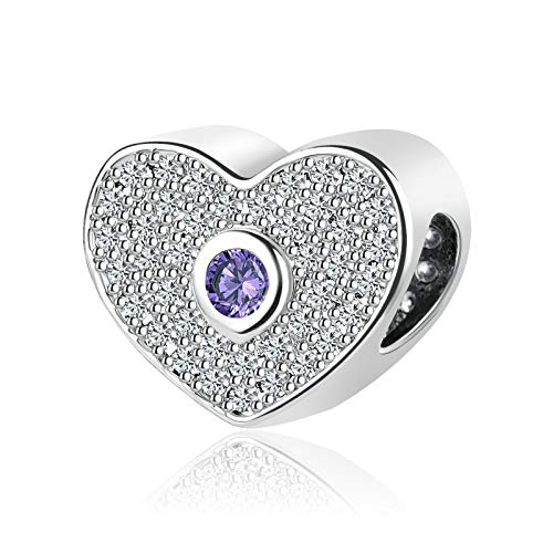 SBI Jewelry Heart Charm for Bracelet June Birthstone Charm Anniversary Birthday Charm Gift for Wife Daughter, Purple