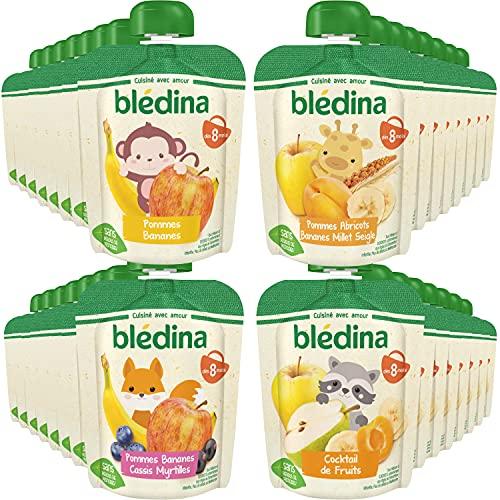 Blédina, Gourdes Purées de Fruits Bébé, Fruits et céréales, Dès 8 Mois, 90g (Packx32)