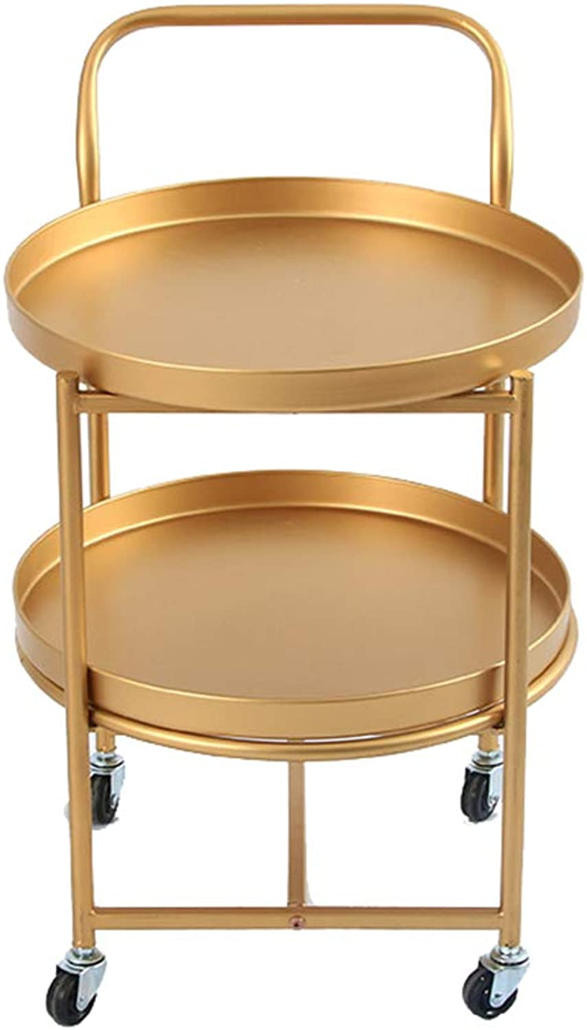 gold Double-Decker Small Coffee Table, European Round Wheel with Removable Table - Balcony Living Room Storage Stand