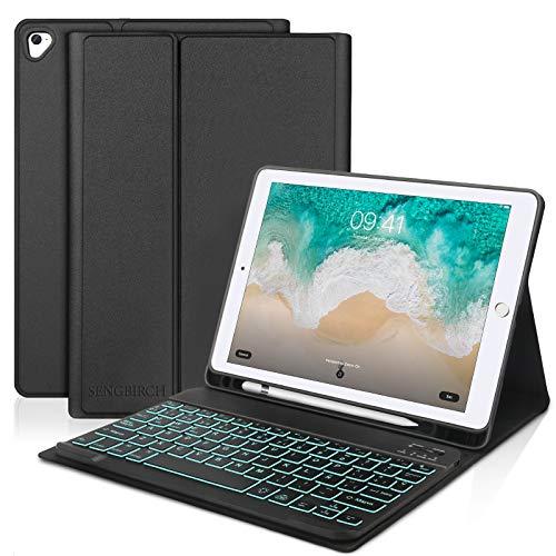 SENGBIRCH Teclado para iPad 2018, Funda Teclado Español para iPad 2018(6th Gen)/iPad 2017/iPad Pro 9.7/iPad Air 2/1, Carcasa Magnética con Teclado Bluetooth con Retroiluminado, Negro