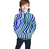 Teen Hooded Sweate Blue Light and Dark Line Sweate Sweatshirt Boys & Girls Casual Hoodie Casual Unisex Top Hoodies 7-20y