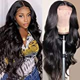 UNice Hair Body Wave 5x5 HD Lace Closure Human Hair Wigs for Black Women Brazilian Unprocessed Virgin Human Hair 5x5 Transparent Lace Front Wig Pre Plucked with Baby Hair 180% Density 28inch