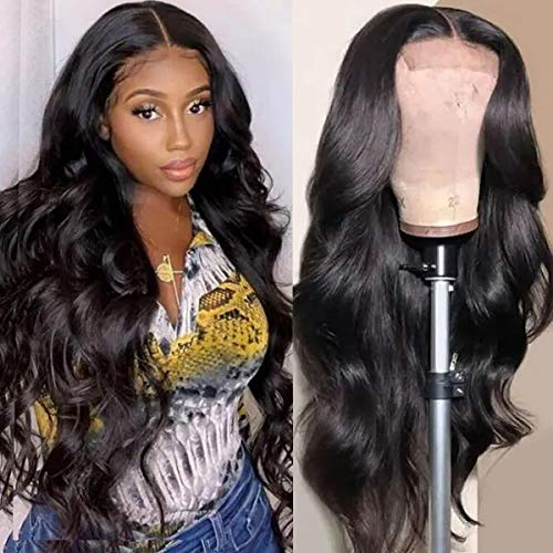UNice Hair Body Wave 5x5 HD Lace Closure Human Hair Wigs for Black Women Brazilian Unprocessed Virgin Human Hair 5x5 Transparent Lace Front Wig Pre Plucked with Baby Hair 180% Density 24inch