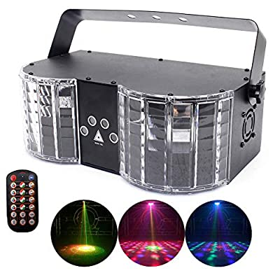 UKing 25W DJ Lights DMX 512 LED Party Light Strobe Effect 2 in 1 Dual LED Stage Light Sound Activated with Remote Control for Disco Bar Dancing Club Stage Lighting