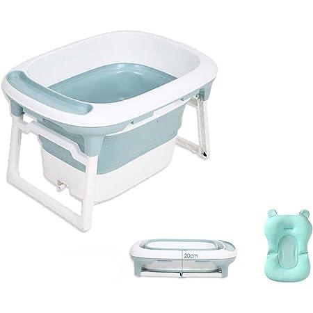 Babify - Vasca da bagno pieghevole compatta con cuscino riduttore Aqua Plus, da 0 a 8 anni, verde menta