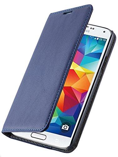 JammyLizarD Lederhülle für Samsung Galaxy S7 Edge   Handyhülle [ Swiss Book Hülle Wallet ] Ledertasche Flip Cover Hülle Leder Schutzhülle, Dunkelblau
