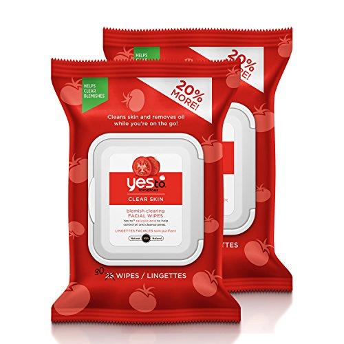 Yes To Tomatoes Clear Skin Blemish Clearing Facial Wipes for Oily or Acne Prone Skin, 30 Count, Pack of 2