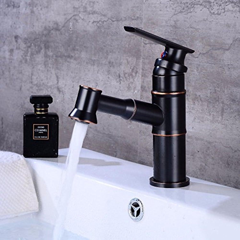 AQMMi Wasserhahn Mischbatterie Für Badzimmer Schwarzes l Eingerieben Bronze Pull-Out-Warmes Und Kaltes Wasser Keramik Einzelne Bohrung Der Einhebelsteuerung Mischbatterie Waschtisch Armatur Für Bad