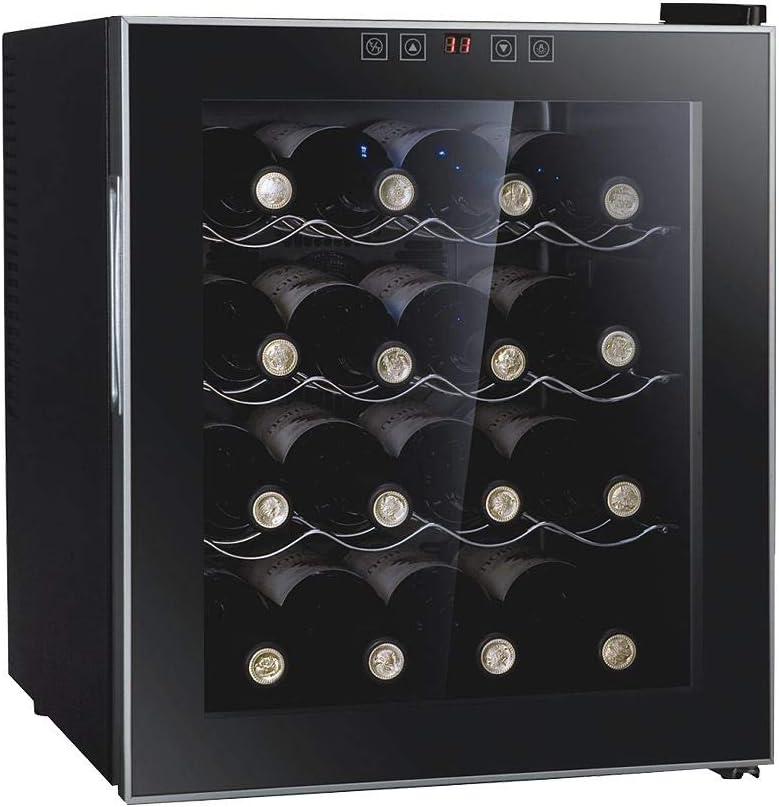 Nevera Para Vinos, Enfriador De Vino Electrico Multitemperatura 8 ° C-18 ° C, Para Vinos Tintos Y Blancos, Panel De Control Táctil, Silencioso, Led, Puerta De Cristal Anti-UV,16 bottles