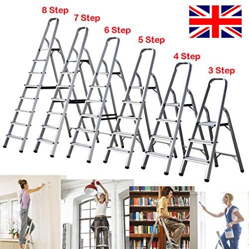 Step Ladder 7 Step Aluminium Lightweight Ladder Foldable Non Alip Ladder 150KG Capacity EN131 Steps for Home Garden DIY