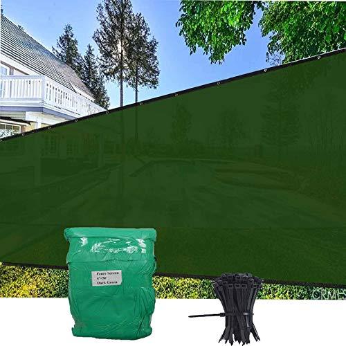 EVERGROW 4' x 50' Dark Green Fence Privacy Screen, Free Zip Ties, Commercial Outdoor Backyard Shade Windscreen Mesh Fabric with Rustless Brass Grommet 90% UV Blockage 4 feet x 50 feet Green