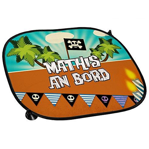 Auto-Sonnenschutz mit Namen Mathis und schönem Piraten-Motiv für Jungs - Auto-Blendschutz - Sonnenblende - Sichtschutz