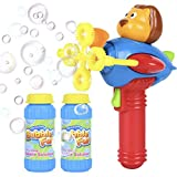 Bubble Gun for Kids - Non-Toxic Bubble Blower with Bubble Solution - Mini Hand-Held Machine with 4 Wands for Blowing Bubbles - Bubble Toys for Parties, Camping, Outdoor Activities - Great Bubble Gift