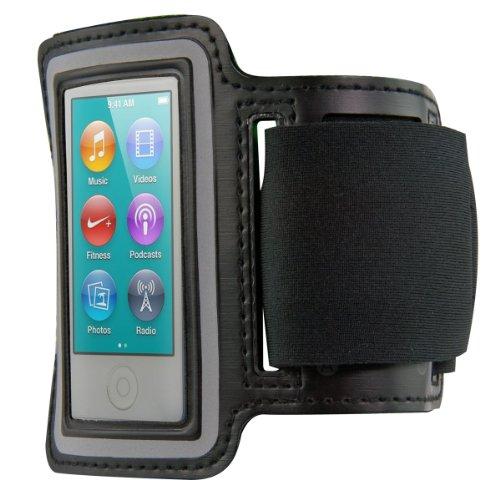 kwmobile Sportarmband für Apple iPod Nano 7 - Sport Fitnessband mit Schlüsselfach im Armband in Schwarz - Case Cover Schutzhülle Jogging Running - Schutztasche
