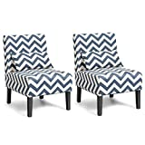 Giantex Set of 2 Armless Accent Chair w/Back Pillow, Wood Legs, Soft Sponge, Upholstered Fabric Accent Side Chair, Living Room Chair for Home, Bedroom, Office (2, Blue/White)