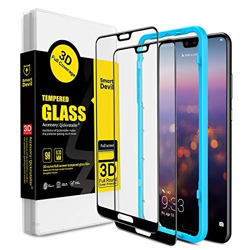 SmartDevil [2 Pack Protector Pantalla de Huawei P20 Pro,Cristal Templado Huawei P20 Pro, Vidrio Templado con [Fácil de Instalar] [3D Borde Redondo] [Garantía de por Vida] para Huawei P20 Pro