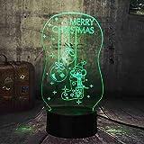 MCJDF Mignon 3D Éclairage Led Joyeux Noël Chaussette Cloche RVB Nuit Lumières Usb Lampe De Bureau Touch Home Bonne Année Cadeau De Noël Pour Enfants