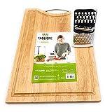 Generico Set: 2 en 1: tabla de cortar de madera de bambú extra grande + Rallador de queso pequeño tabla y tabla para cortar pan, embutidos, carne (cortador de 38 x 28 x 1 + rallador).