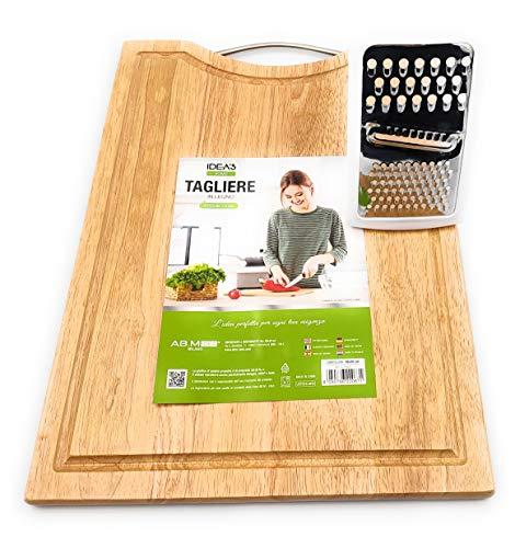 Generico Set: 2in 1: Tagliere in Legno di bambù Extra Grande + Grattugia Formaggio Piccola ►Spianatoia e ASSE per Tagliare Pane, Salumi, Carne (Tagliere38x28x1,+ grattugia)