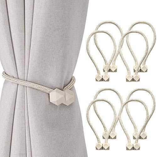 2Buyshop 8 PCS Magnetic Curtain Tiebacks, European Style Convenient Drape Tie Backs, Decorative Drape Tie Backs Holdback Holder for Window Draperies,No Tools Required
