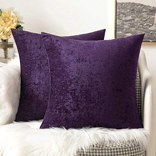 MIULEE Pack of 2 Chenille Cushion Covers Throw Pillow Case Decorative Vintage Super Soft Square Home for Sofa Bedroom Decor with Invisible Zipper Purple 45cm x 45cm 18x18 Inches