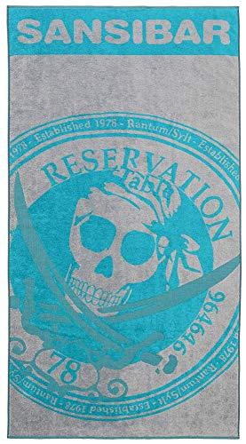 Sansibar Badetuch Reservation Strandtuch Saunatuch Zweifarbig Prägedruck Design 100% Baumwolle ca.100x180 cm Türkis