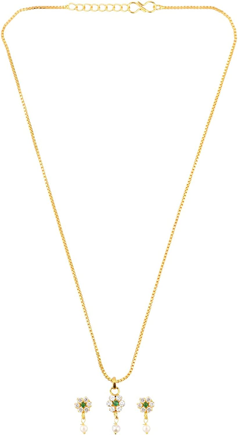 Efulgenz Cubic Zirconia CZ Floral Pendant Chain Necklace Earrings Jewelry Set Gift for Women Girls