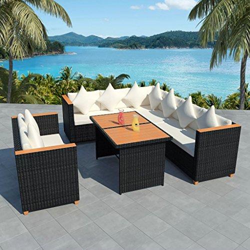 Namotu vidaXL 5-TLG. Conjunto de salón de jardín con Cojines de poliratán, Color Negro.