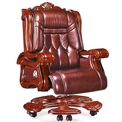JNOIHF Silla de oficina ergonómica, silla reclinada en el hogar, espalda alta de 360 ° presidente sillones giratorios sillones ejecutivos con cáster tapizado en cuero para silla ejecutiva costosa ad