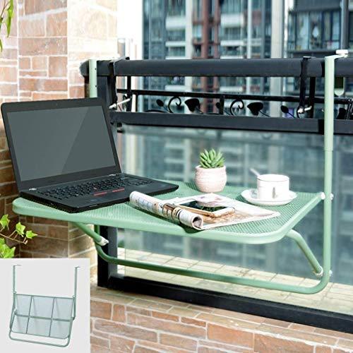 Aan de muur bevestigde vloer table Opknoping balkon tafel, opvouwbaar terras railing tafel, in hoogte verstelbaar tuintafel, balkon reling, groen laptop bureau