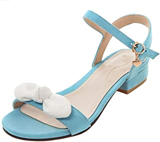 TAOFFEN Women Sweet Low Heel Sandals Ankle Strap