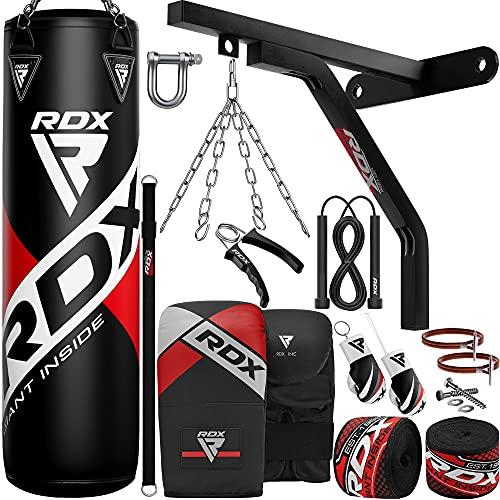 RDX 17PC Boxsack 5ft 4ft und Boxhandschuhe Set, Gefüllt Erwachsene Sack mit Wandhalterung, Kette für Boxen, Kampfsport Kickboxen, Muay Thai, MMA Training, Punchingsäcke Handschuhe (MEHRWEG)