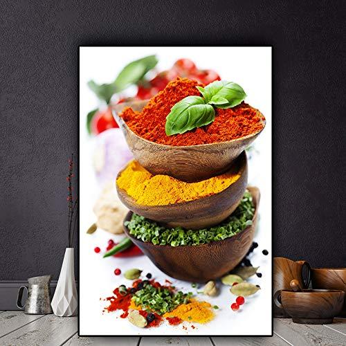SADHAF Grain Spice Chili Plant groen canvas olieverfschilderij foto poster en printkunst keuken woonkamer wanddecoratie 60x90cm (kein Rahmen) A5